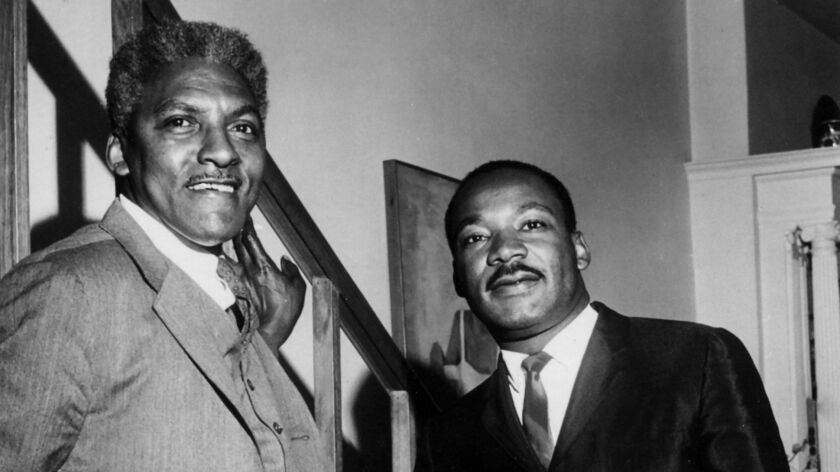 """Civil rights organizer Bayard Rustin, left, with Martin Luther King Jr. Rustin was arrested on a """"morals charge"""" in Pasadena in 1953."""