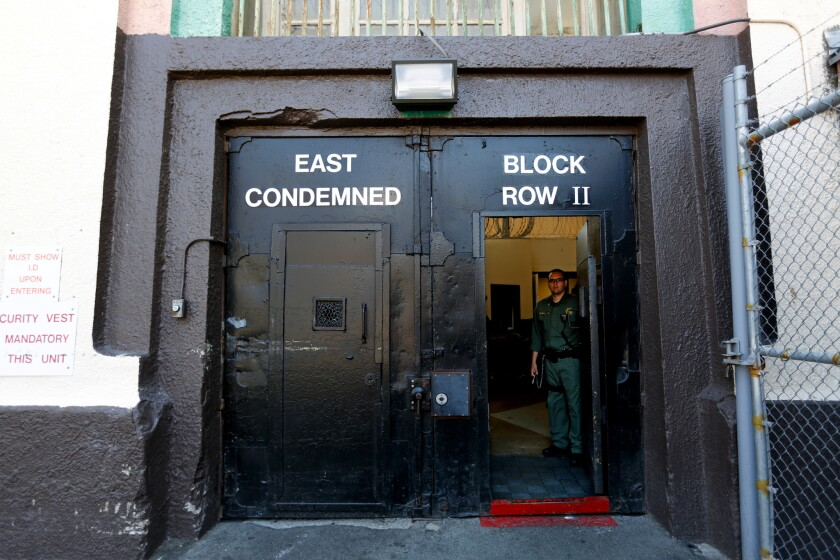 The entrance to the East Block of death row at San Quentin State Prison.