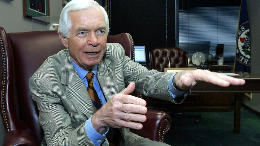 Sen. Thad Cochran (R-Miss.) talks with a reporter in Jackson, Miss., in 2005.