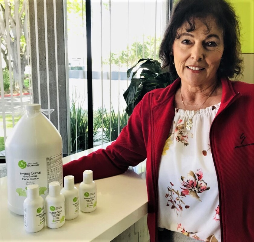 Ursula Wagstaff-Kuster, owner of CA Botana, a Sorrento Valley manufacturer that uses natural products, has revived production on her Doctor D. Schwab Invisible Glove hand sanitizer due to the COVID-19 outbreak.