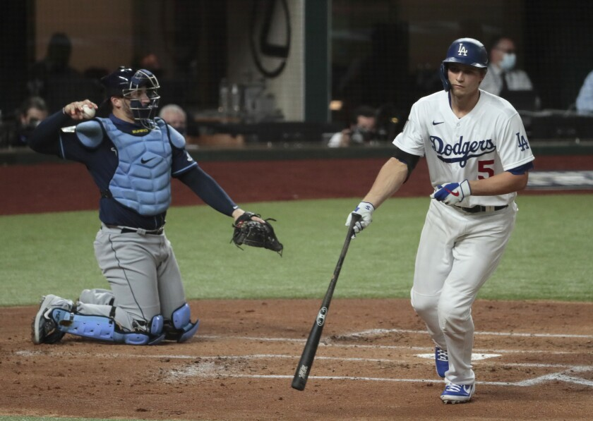 Dodgers shortstop Corey Seager walks during the first inning in Game 1 of the World Series against the Tampa Bay Rays.