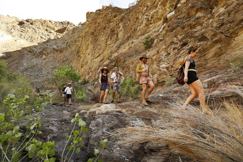 A Wilderness Torah group, celebrating Judaism's spiritual connection with nature, hikes in the Surprise Canyon Wilderness Area.