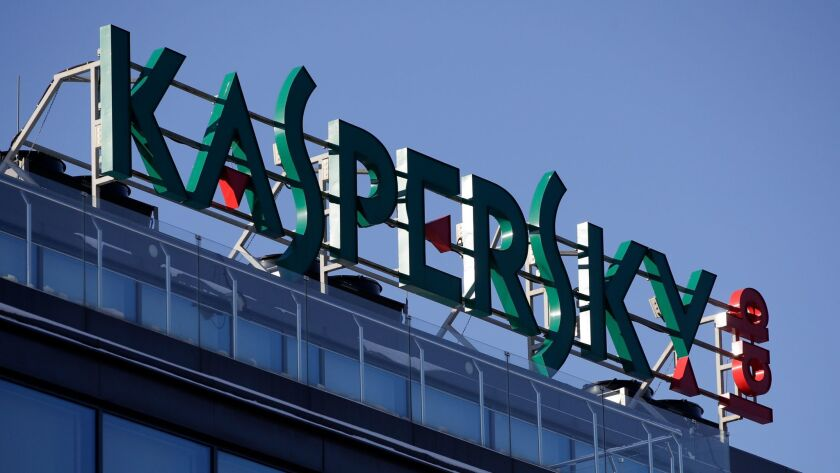 FILE - This Monday, Jan. 30, 2017, file photo shows a sign above the headquarters of Kaspersky Labs
