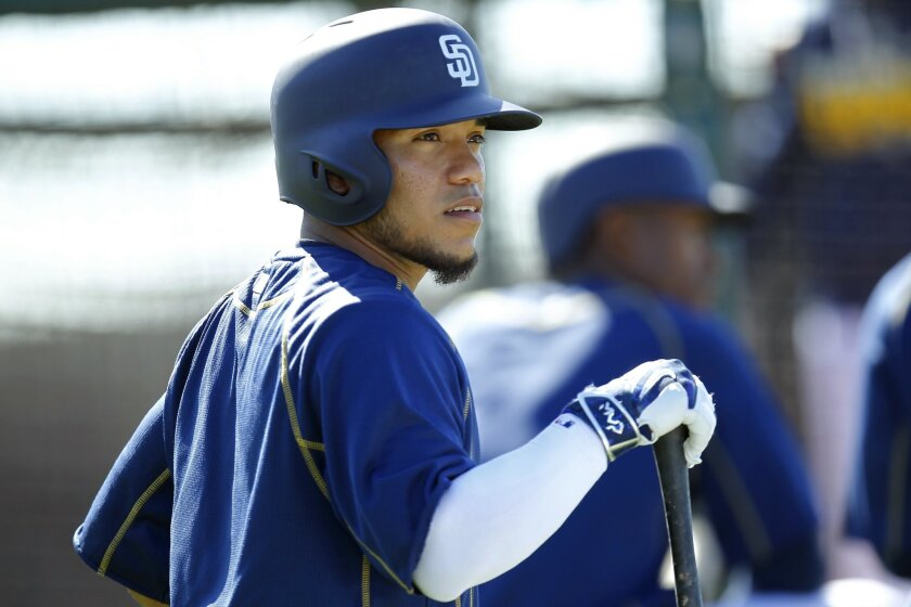 San Diego Padres Alexi Amarista waits to bat during a spring training practice.