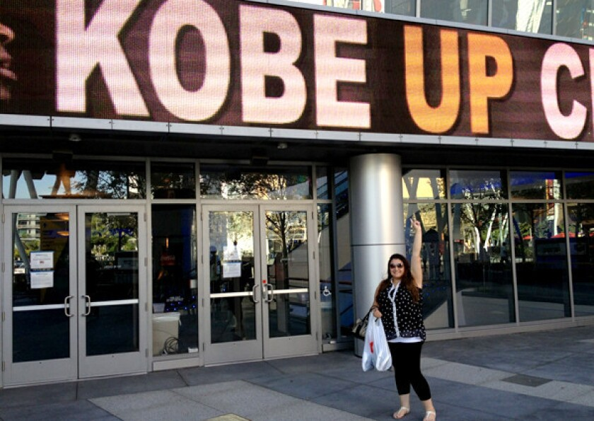 """Romina Rosas arrives at Nokia Theatre on Thursday for """"Kobe Up Close Hosted by Jimmy Kimmel."""""""