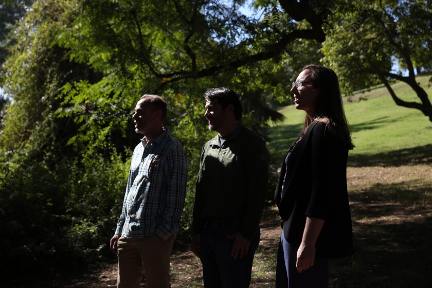 Tree surgeon Leon Boroditsky, left, forest officer Rachel Malarich and Long Beach City College horticulture professor Jorge Ochoa have been tracking tree health and growth in L.A. for years.