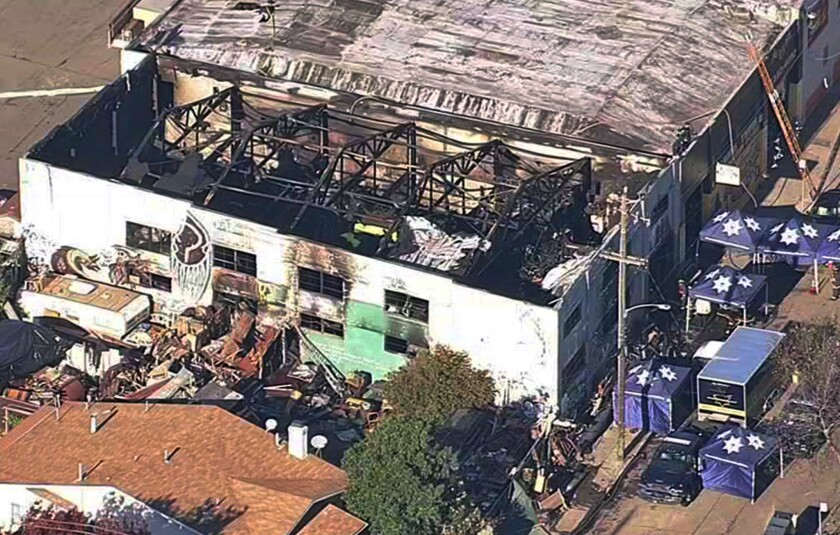 The Ghost Ship warehouse in Oakland after the December fire.