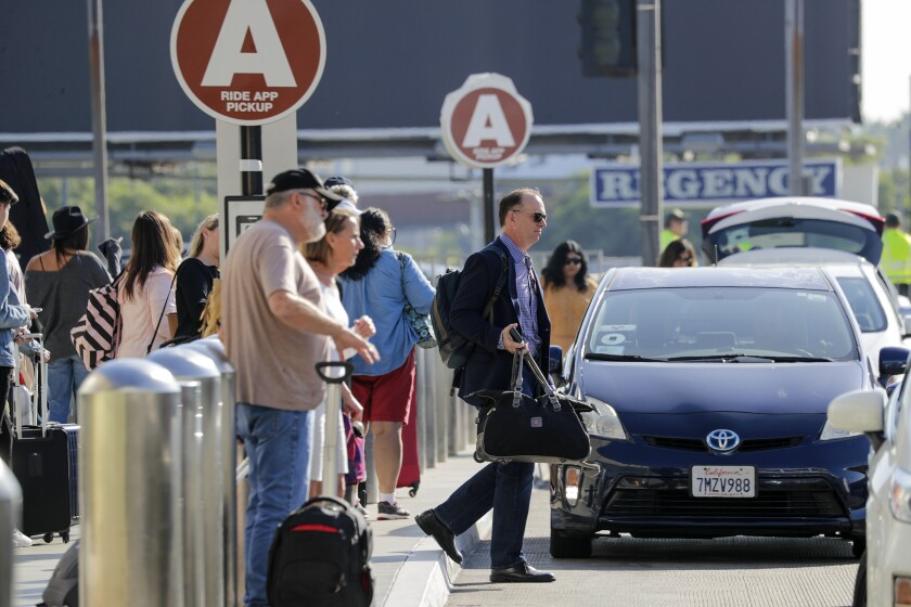 Ride-hailing pickup area at LAX