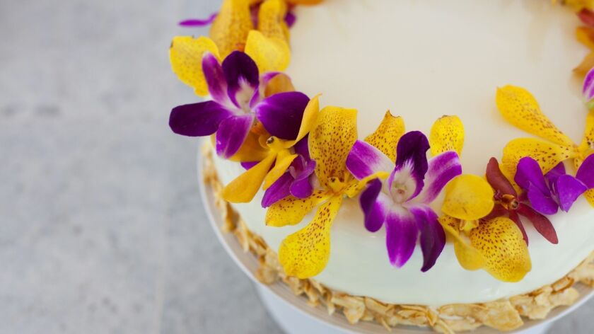 Princess Kaiulani Cake, made with caramelized pineapple, creamy coconut vanilla bean mousse and whit