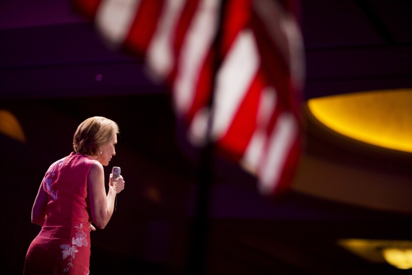 Newly anointed GOP star Carly Fiorina speaks at the conservative RedState Gathering Aug. 7 in Atlanta.