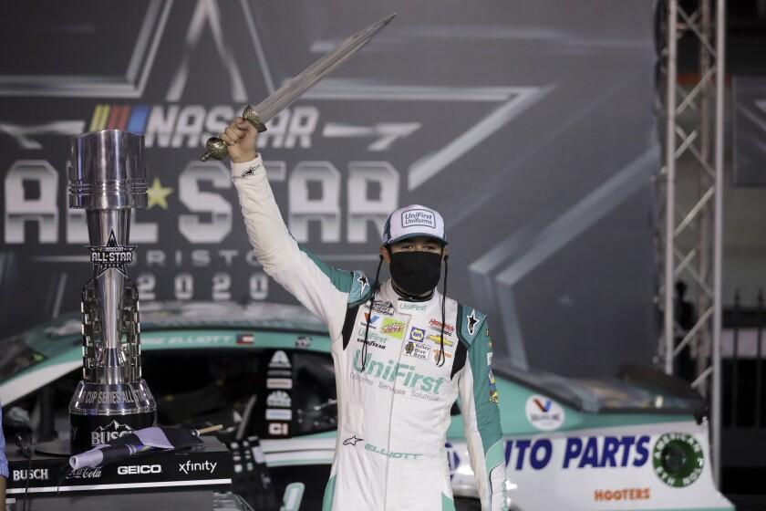 Chase Elliott celebrates after winning a NASCAR All-Star auto race at Bristol Motor Speedway in Bristol, Tenn.