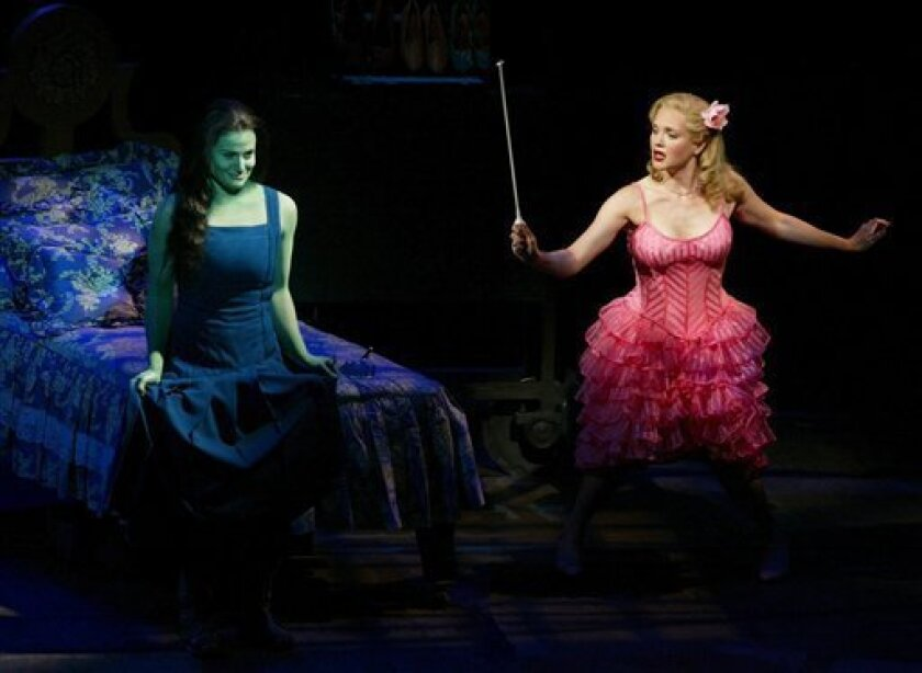 "FILE - In this undated photo released by the producers of ""Wicked,"" Idina Menzel, left, is joined by Jennifer Laura Thompson, right, in the $14 million ""Wizard of Oz"" prequel. The Broadway League reported Wednesday, Jan. 2, 2013, that the 10-year-old ""Wicked"" took in a whopping $2,947,172 over nine performances last week, which is the highest single-week gross of any show in Broadway history. (AP Photo /Joan Marcus, File)"