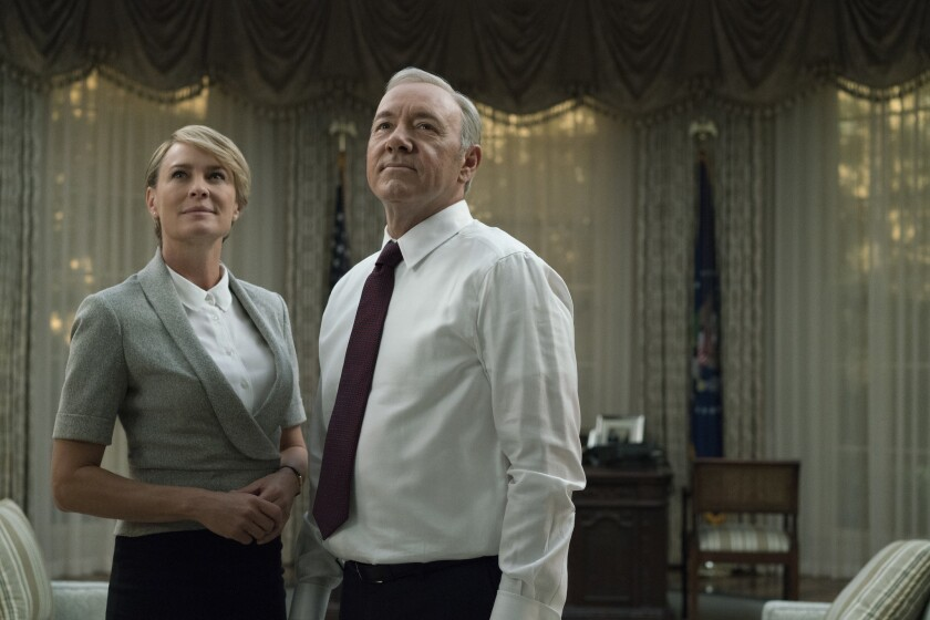 """Robin Wright as Claire and Kevin Spacey as Frank Underwood in the Netflix series """"House Of Cards."""""""