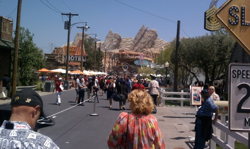 Radiator Springs leads to Ornament Valley in the new Cars Land section of Disney California Adventure.
