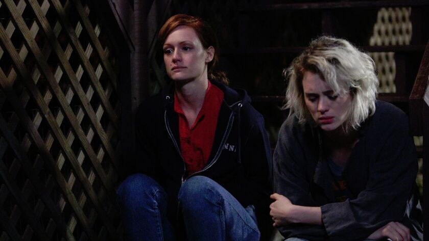 "Kerry Bishé and Mackenzie Davis in ""Halt and Catch Fire."""