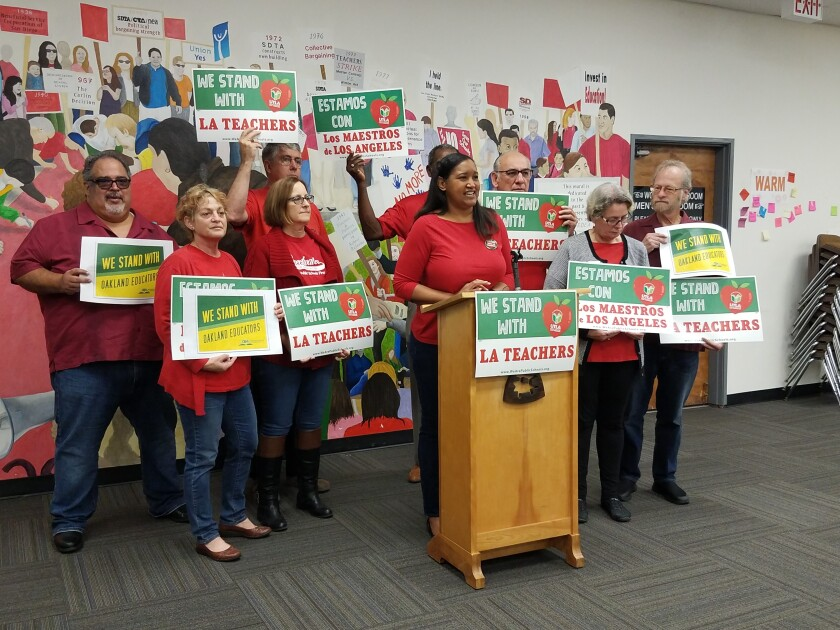 President of the San Diego teachers union, Kisha Borden, spoke at a press conference in January in support of the Los Angeles teachers union as it was about to strike over issues of teacher pay and more.