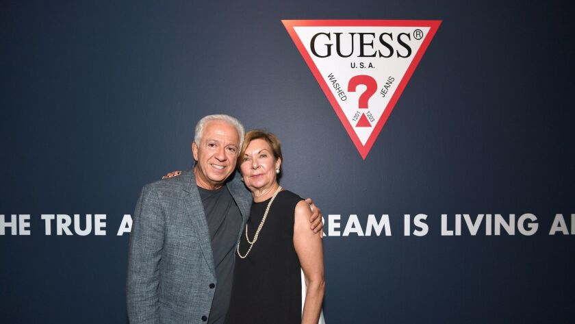 LOS ANGELES, CA - JUNE 05: Fashion designer and co-founder of Guess? Inc. Paul Marciano (L) and VP