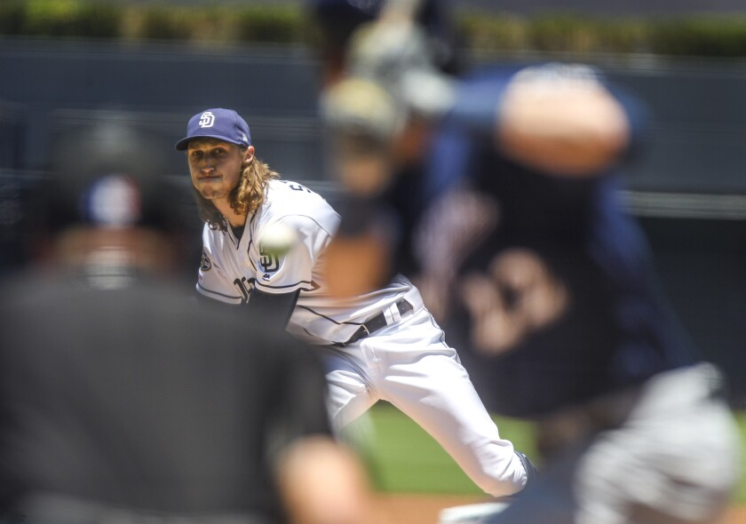 Matt Strahm pitches against the Brewers last month. The Padres' left-hander has seen his fastball velocity drop an average of nearly 3 mph since he moved from the bullpen to the starting rotation.