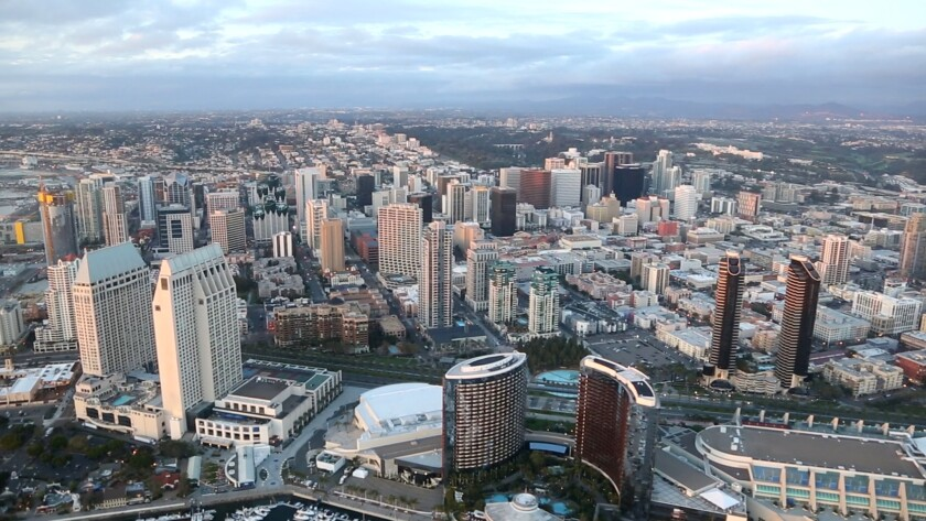 Bird's eye view of downtown San Diego.