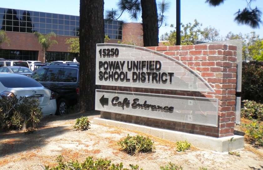 the Poway Unified School District sign outside the district office