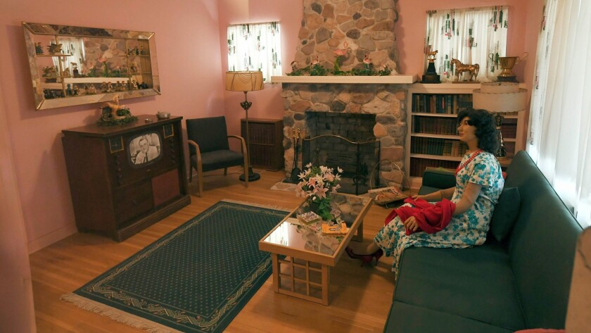 This is the living room of the Goumond House, restored to a 1950's time period, at the Clark County