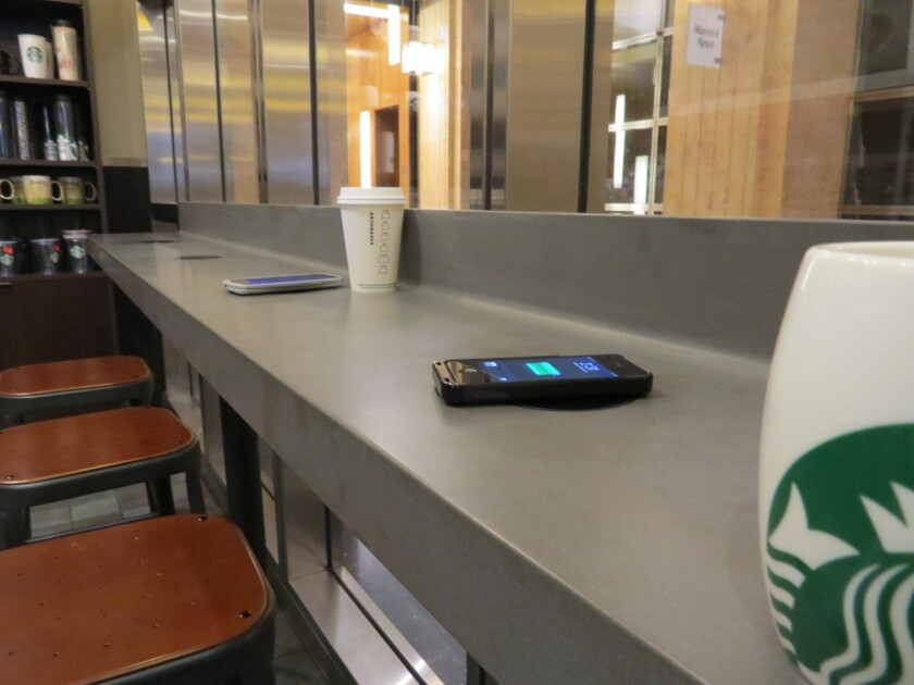 Charging stations in Starbucks