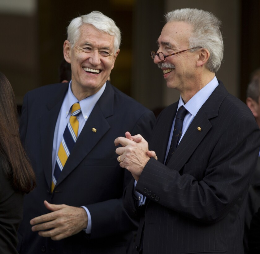 Nicholas Dirks, right, with Robert Birgenau, his predecessor as Berkeley chancellor, after his appointment in 2012.