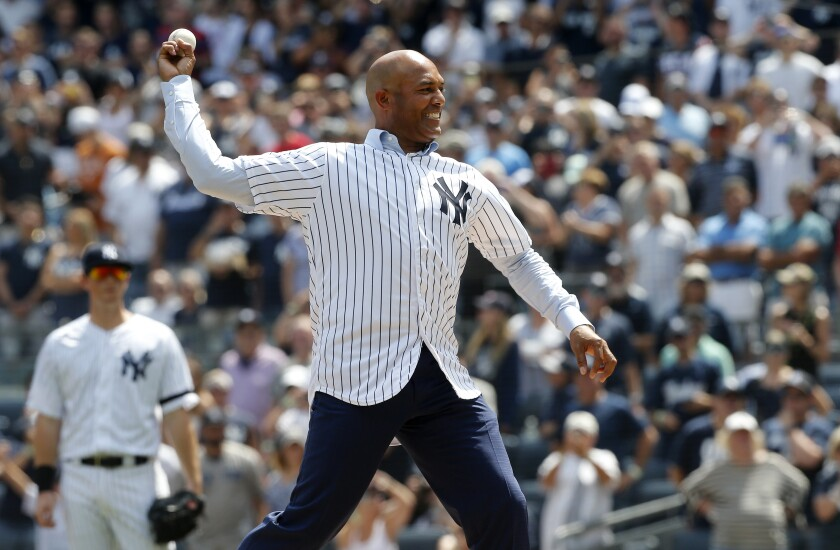 NEW YORK, NEW YORK - AUGUST 17: 2019 National Baseball Hall of Fame inductee and former New York Yankee Mariano Rivera throws the ceremonial first pitch before a game between the Yankees and the Cleveland Indians at Yankee Stadium on August 17, 2019 in New York City. (Photo by Jim McIsaac/Getty Images) ** OUTS - ELSENT, FPG, CM - OUTS * NM, PH, VA if sourced by CT, LA or MoD **