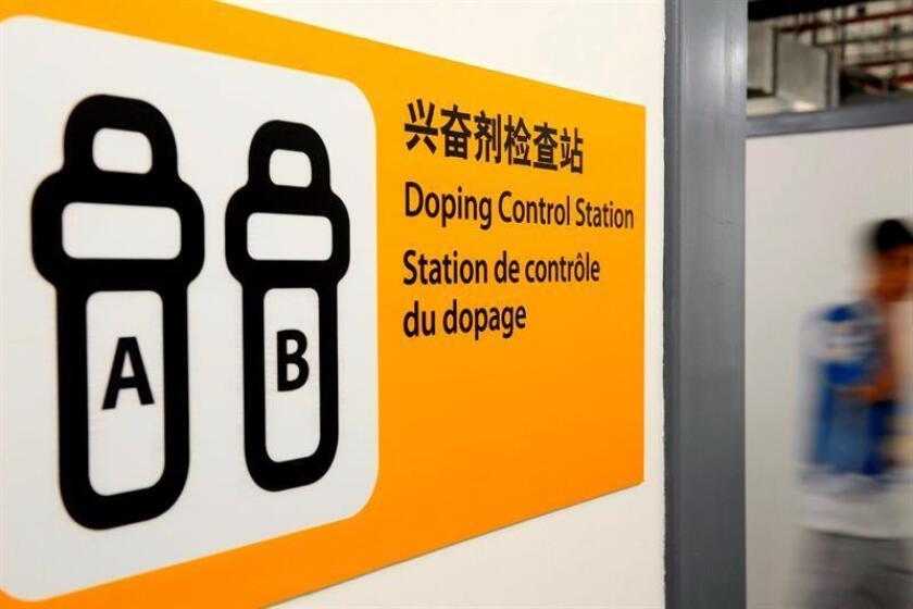 Una señal indica el acceso a un Centro de Control de Dopaje en Pekín, China. EFE/Archivo