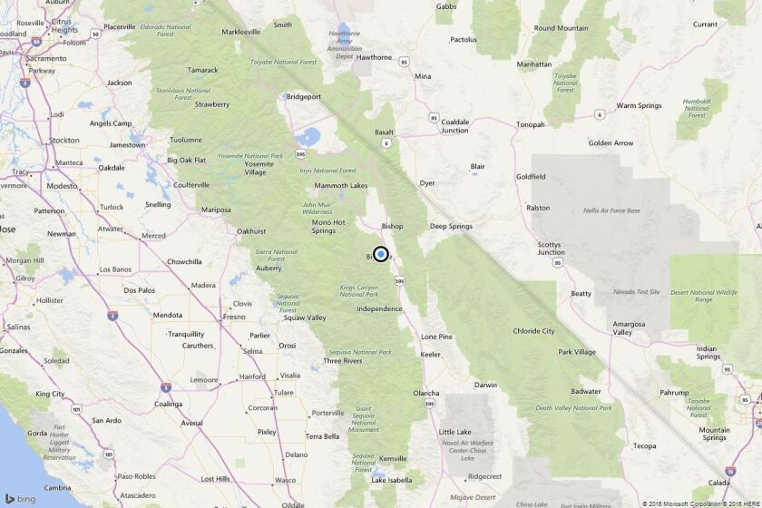 A map showing the location of the epicenter of Tuesday afternoon's quake near Big Pine, Calif..