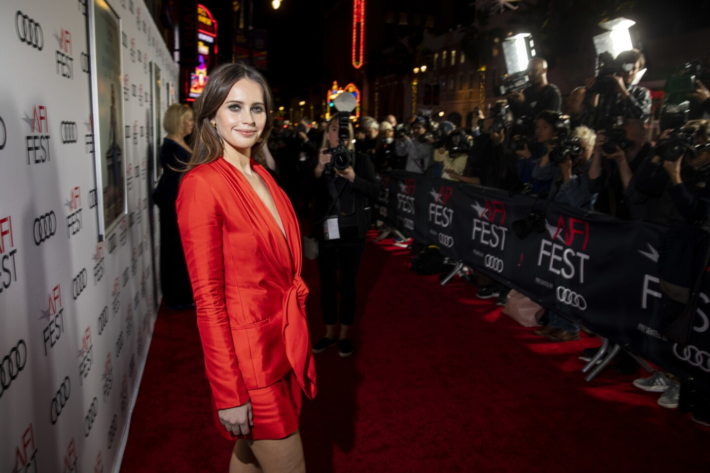 """Actress Felicity Jones on the red carpet of """"On The Basis of Sex"""" at the opening-night gala of AFI Fest 2018 at the TCL Chinese Theatre in Hollywood on Thursday. Jones portrays Supreme Court Justice Ruth Bader Ginsburg in the origin story of Ginsburg."""