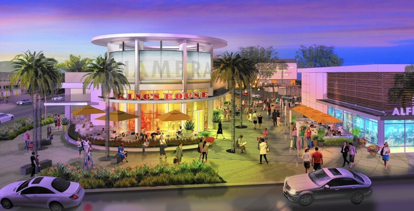 Alhambra Place, a retail and apartment complex on 10.5 acres at Main Street and Garfield Avenue in Alhambra, is seen in this rendering. Shea Properties will spend more than $130 million to develop the complex.