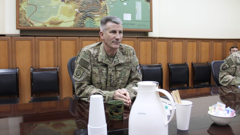 U.S. Army Gen. John W. Nicholson Jr. looks on during an interview in Kabul, the Afghan capital, on Oct. 23, 2016.