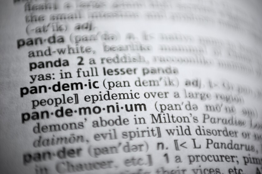 """The word """"pandemic"""" is displayed in a dictionary."""