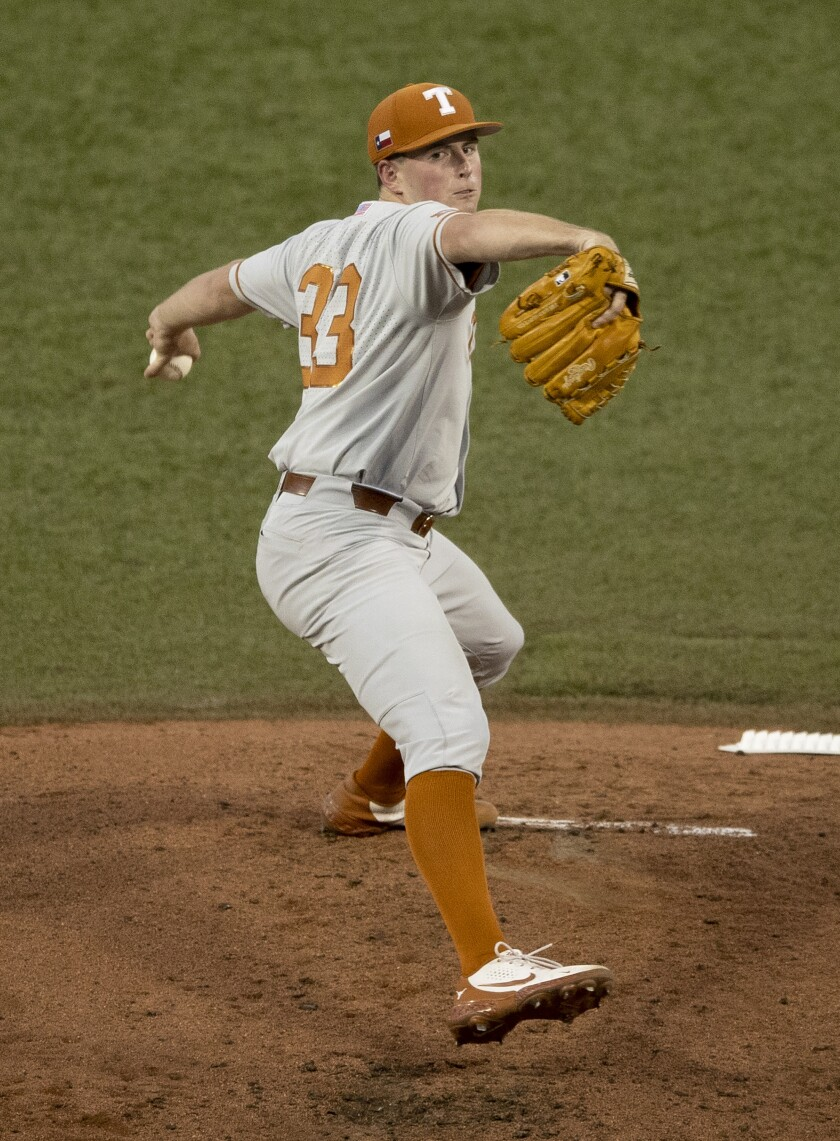 Texas pitcher Pete Hansen delivers in the first inning against Fairfield in an NCAA college baseball regional tournament at Disch-Falk Field, Sunday on June 6, 2021, in Austin, Texas. (Austin American-Statesman via AP)