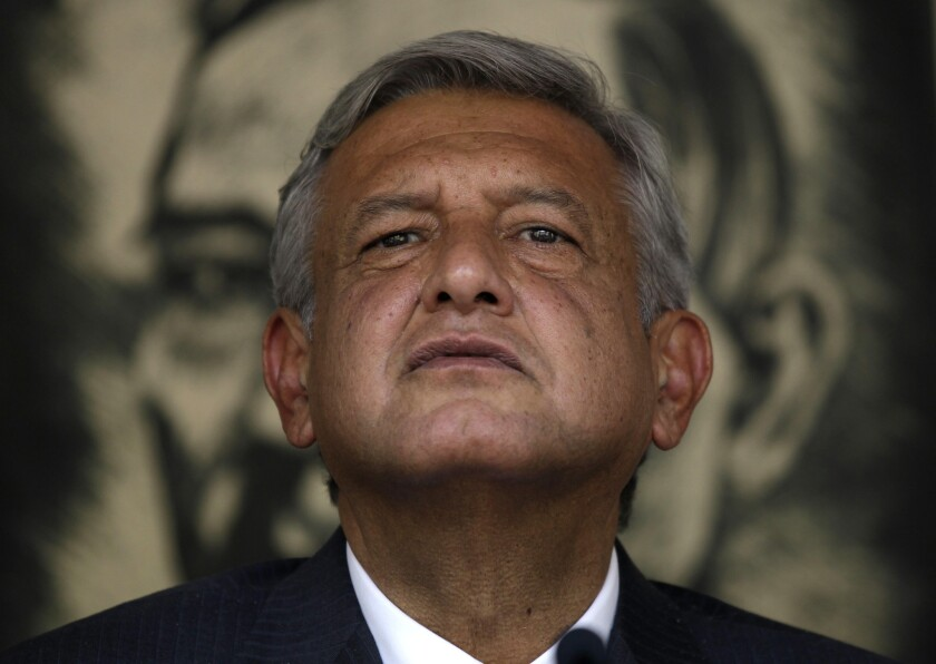 Andres Manuel Lopez Obrador, then a presidential candidate for the Democratic Revolution Party, speaks during a news conference in Mexico City.