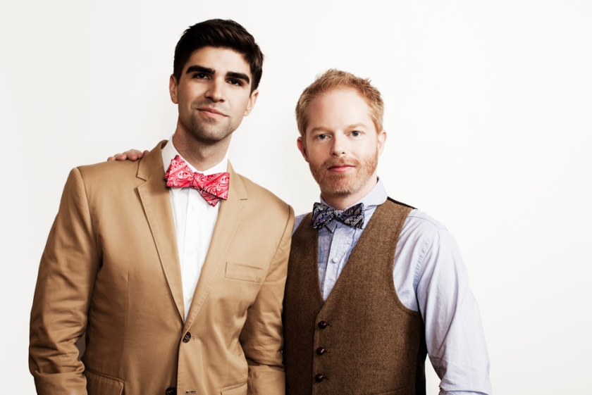 """Tie the Knot, a year-old neckwear line designed by Justin Mikita, left, and his husband, """"Modern Family"""" actor Jesse Tyler Ferguson, is moving into bricks-and-mortar retail with a Beverly Center pop-up shop that will be open through Jan. 10."""