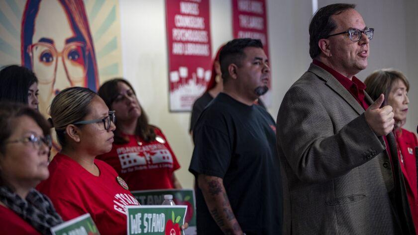 LOS ANGELES, CA - DECEMBER 21, 2018: UTLA President Alex Caputo-Pearl calls for a cap on charter sch