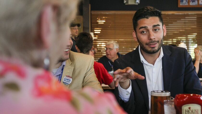 Ammar Campa-Najjar campaigning in Santee during the 2018 election campaign.