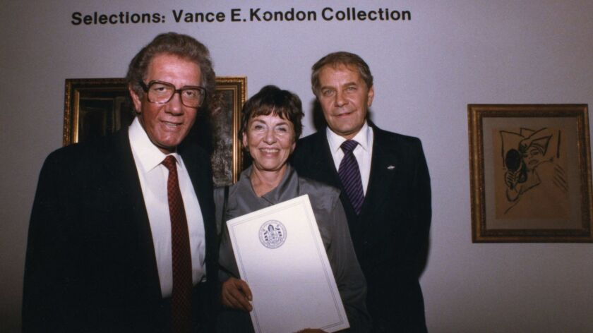 """Danah Fayman (center) is shown in 1985 in with Vance E. Kondon (left) and Sebastian """"Lefty"""" Adler (r"""