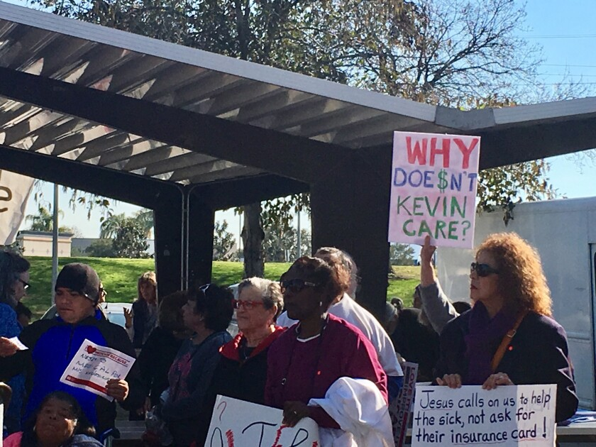 Demonstrators target House Majority Leader Kevin McCarthy in a pro-Obamacare rally in Bakersfield.