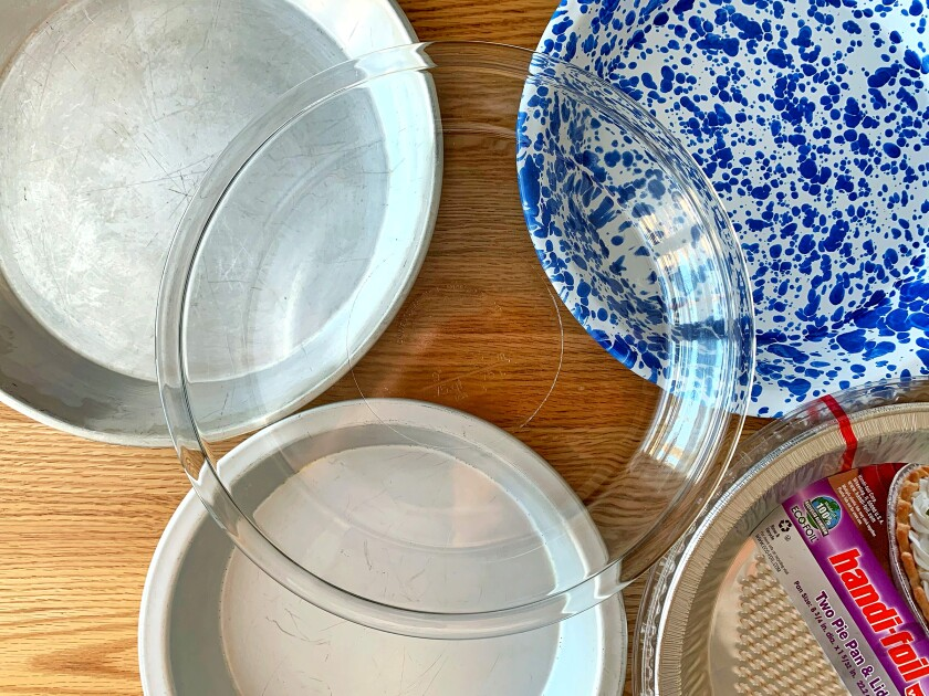 Glass, metal and foil pie pans