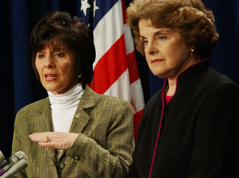 Sen. Barbara Boxer (D-Calif.), left, and Sen. Dianne Feinstein (D-Calif.) appear during a 2003 news conference.