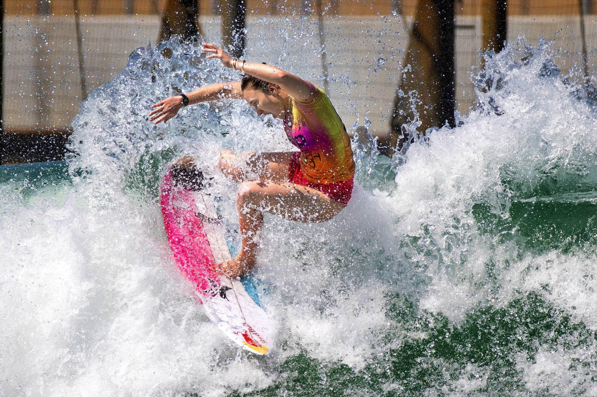 Carissa Moore of Hawaii competes at the Jeep Surf Ranch Pro at the Kelly Slater WSL Surf Ranch in Lemoore, Calif.