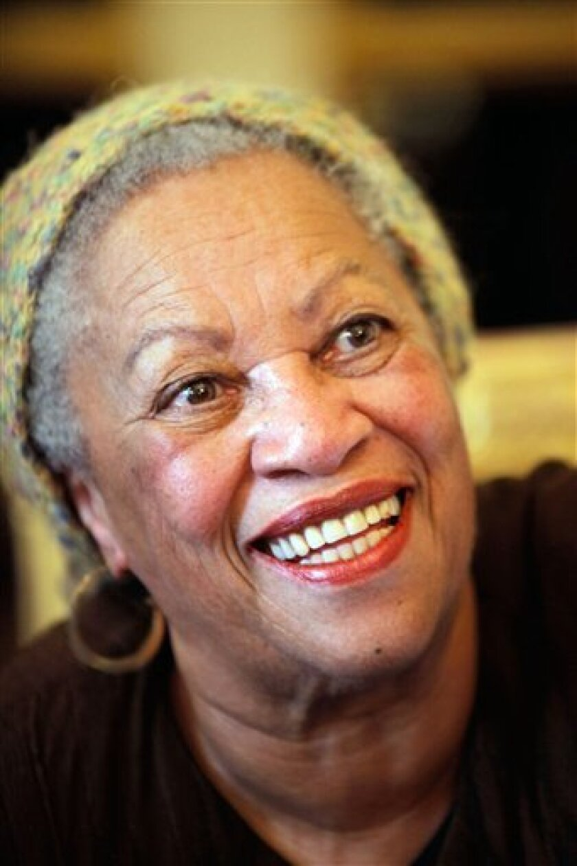 U.S novelist Toni Morrison smiles after being awarded the Legion of Honor by French Culture Minister Frederic Mitterrand, unseen, in Paris, Wednesday Nov. 3, 2010. (AP Photo/Thibault Camus)