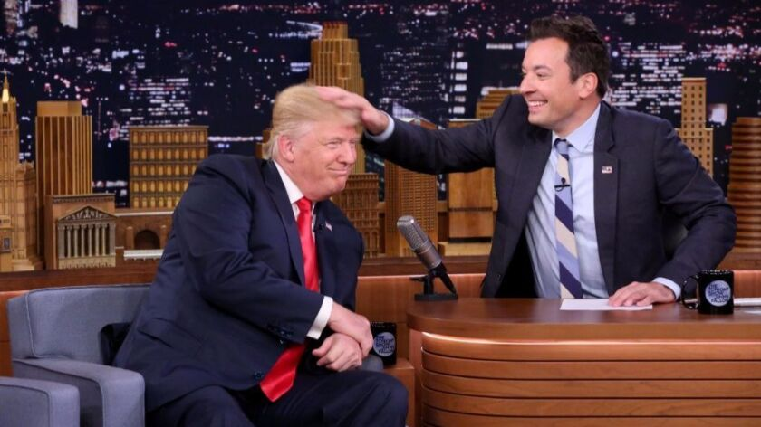 """Then-Republican presidential candidate Donald Trump during an interview with """"Tonight Show"""" host Jimmy Fallon on Sept. 15."""