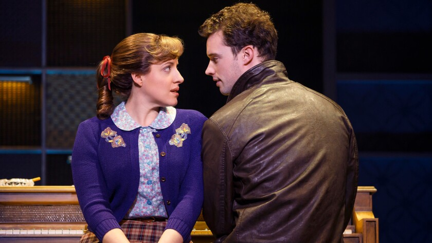 Abby Mueller as Carole King, and Liam Tobin as Gerry Goffin.