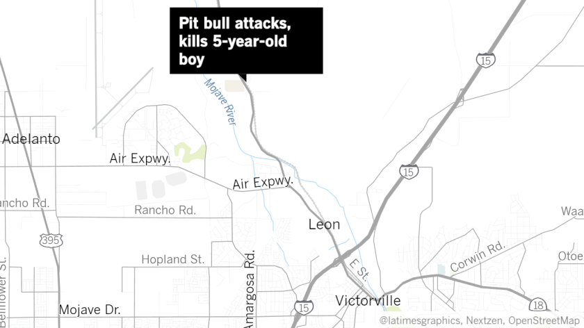 A 5-year-old boy died after being attacked by his family's pit bull in the 15100 block of Portland Street in Oro Grande on Monday afternoon, authorities said.