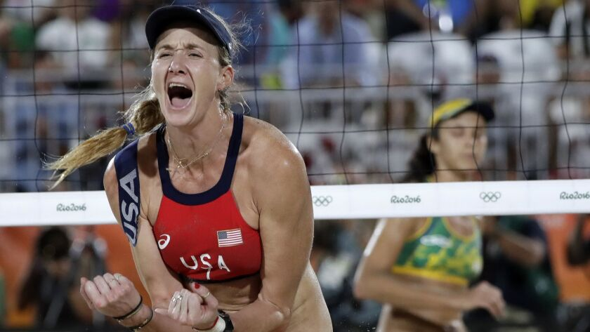 FILE - In this Aug. 17, 2016, file photo, United States' Kerri Walsh Jennings reacts while playing B