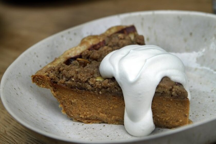 Karen Hatfield adds her own touch on a traditional pumpkin pie with brown-butter streusel and pepitas. Recipe.